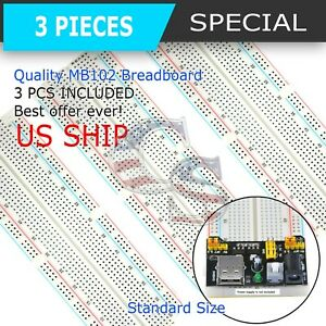 3x Mb 102 830 Point Prototype Pcb Solderless Breadboard Protoboard