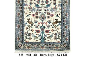 Collection Perfect Condition Hunting Birds Design 3x5 Wool Area Rug