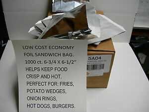 Economy Foil Bag 1000 Cs Take Out Carry Out Hot Food Holds Heat 6 3 4 X 6 1 2