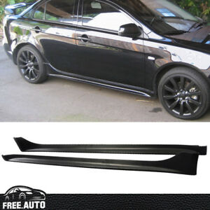 For 2008 2017 Mitsubishi Lancer Oe Style Side Skirts Bodykit Pp Black Spoiler