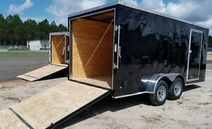 7x16 7 X 16 Enclosed Cargo Trailer V nose 18 Tandem 8 Motorcycle Lawn 2018 Call