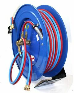 Retractable Auto Rewind Welding Hose Reel Wall Ceiling W 100ft Oxygen Acetylene