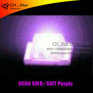 1000pcs 5050 2220 Plcc 6 Purple Light Smd Smt 3 chips Ultra Bright Led