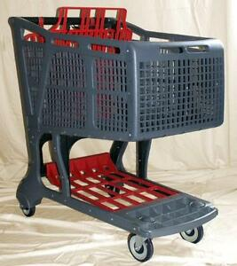 Grey red Large Plastic Grocery Shopping Carts