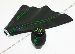 M10 X 1 5 Blk Leather Shift Knob W Green Stitching Leather Boot For Honda
