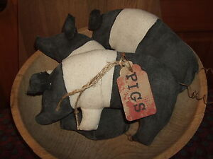 Primitive Pigs Folk Art Trio Of Bowl Filler Ornies Rustic Country Style Decor