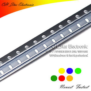 5colors 100pcs 1206 3216 Smd Smt Led Diode White Red Yellow Green Blue Mix Kits