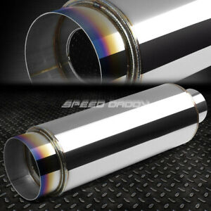 2 5 inlet With 4 5 Burnt Tip silencer T304 Steel Racing Round Exhaust Muffler