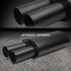 3 Inlet 3 Black Dual Tips T304 Stainless Steel Racing Oval Exhaust Muffler