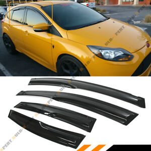 For 09 18 Ford Focus 4 Door Hatchback St Wavy 3d Style Smoke Window Visor Shade