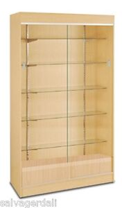 Wall Case Knockdown 4 Wide Showcase Display Adjustable Shelves Maple Finish New
