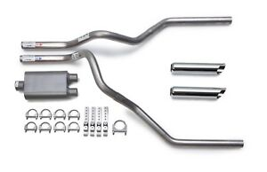 Flowmaster 40 Dual Exhaust Kit Chrome Tips Chevy Silverado Gmc Sierra 07 14