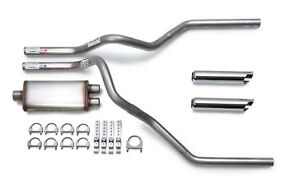 1988 95 Chevy Silverado Dual Exhaust Kit Flow Ii Stainless Muffler Chrome Tips