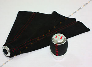 For 1988 14 Honda Civic Leather Chrome 5 Speed Shift Knob Red Stitch Suede Boot