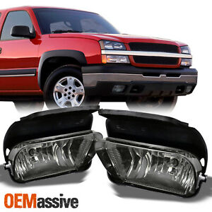 Fits 2003 2006 Silverado 1500 2500 3500 Smoked Fog Lights Lamps W Bulbs Bracket