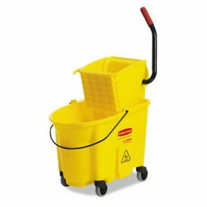 Rubbermaid 7580 Wavebrake 35qt Side Press Mop Bucket Wringer rcp 7580 88 Yel