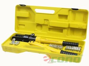 16 Ton 10 Dies Hydraulic Wire Crimper Crimping Tool Battery Cable Lug Terminal