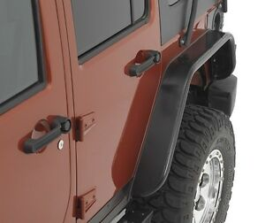 Warrior Rear Pair Tube Flares Smooth Black Steel 07 18 Jeep Wrangler Jk 2 Door