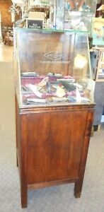 Antique 1900s National Carbon Co Product Battery Wood Glass Display Showcase