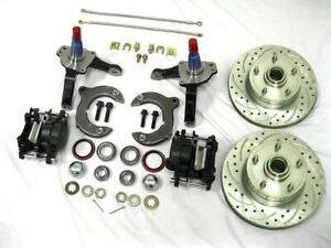 Mustang Ii Front Disc Brake Kit 11 Plain Rotors Chevy Stock Spindles Ss Lines