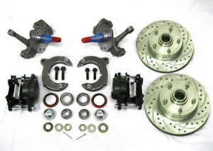 Mustang Ii 2 Front Disc Brake Kit With 11 Plain Rotors Chevy 2 Drop Spindles