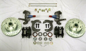 Mustang Ii Front Disc Brake Kit 11 Plain Rotors Ford 2 Drop Spindles Ss Lines