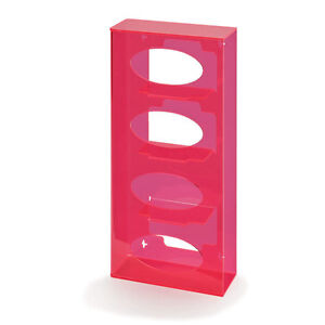Fluorescent Side loading Acrylic Glove Dispenser Quad Fluorescent Red 1 Ea