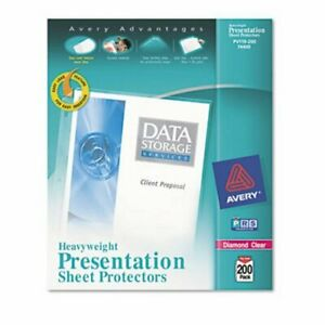 Avery Poly Sheet Protectors Heavy Letter Diamond Clear 200 box ave74400