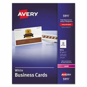 Avery Laser Business Cards 2 X 3 1 2 White 10 Cards sheet 2500 box ave5911