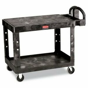 Rubbermaid 4525 Flat 2 shelf Utility Cart Medium Black rcp452500bk
