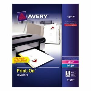 Avery Print on 5 tab Dividers 3 hole Punched 25 Sets Per Pack ave11517