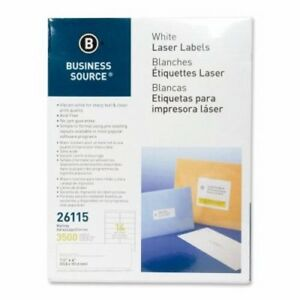 Business Source Mailing Labels Laser 1 1 3 x4 3500 pk White bsn26115