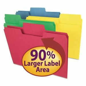 Smead Colored File Folders 1 3 Cut Letter Assorted 100 Per Box smd11987