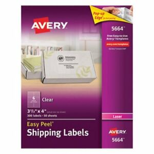Avery 5664 Easy Peel Clear Shipping Labels 3 1 3 X 4 300 Labels ave5664