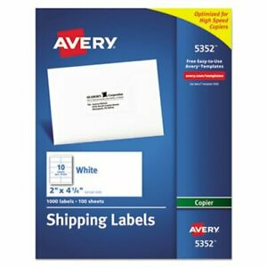 Avery Self adhesive Shipping Labels For Copiers White 1 000 Per Box ave5352