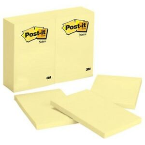 Post it Original Notes 4 X 6 Canary Yellow 12 100 sheet Pads pack mmm659yw