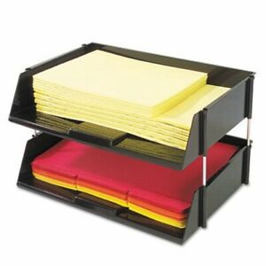 Deflect o Industrial Stacking Tray Set Two Tier Plastic Black def582704