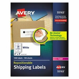 Avery Re hesive Laser Labels 2 X 4 White 1000 pack ave55163