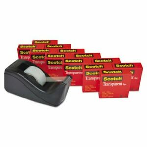 Scotch Transparent Tape Dispenser Pack 1 Core Blk 12 Rolls mmm600kc60