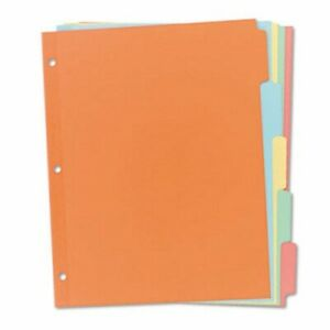 Avery Write on Plain Tab Dividers 5 Multicolor Tabs Salmon 36 Sets ave11508