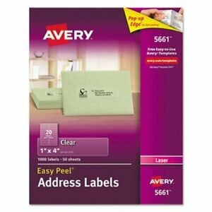 Avery Easy Peel Laser Mailing Labels 1 X 4 Clear 1000 box ave5661