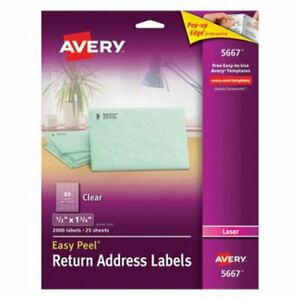 Avery 5667 Clear Return Address Labels 1 2 X 1 3 4 2 000 Labels ave5667