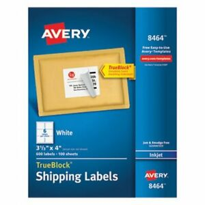 Avery Shipping Labels With Trueblock Technology 3 1 3 X 4 600 box ave8464