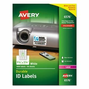 Avery 6576 Permanent Id Labels 1 1 4 X 1 3 4 White 1 600 Labels ave6576
