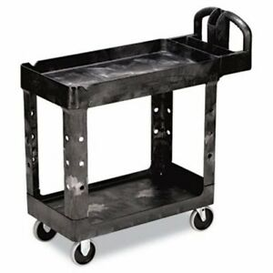 Rubbermaid 4500 88 Heavy duty Utility Cart 2 shelf Black rcp450088bk