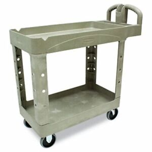 Rubbermaid 450088 Heavy Duty 2 shelf Utility Cart Beige rcp450088bg