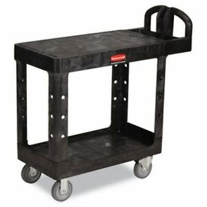 Rubbermaid 4505 Flat 2 shelf Utility Cart Small Black rcp450500bk