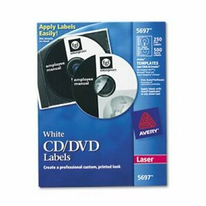 Avery Laser Cd dvd Disc Labels Matte White 250 Labels ave5697