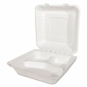 3 Compartment Molded Fiber Clamshell Containers 200 Containers sch18940