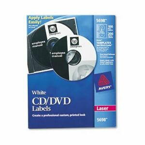Avery Laser Cd dvd Disc Labels Matte White 100 Labels ave5698